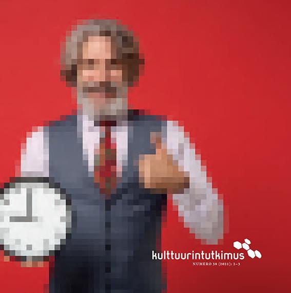 Kansikuvassa punaisella pohjalla peukaloa näyttävä siististi pukeutunut mies kello kädessään. Kuva on pikselöity sumeaksi.